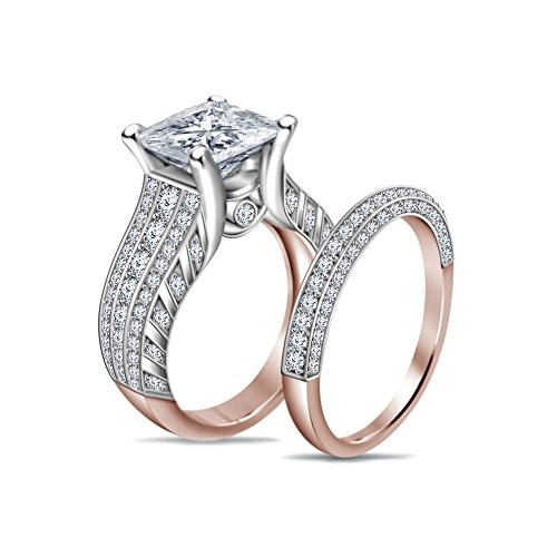Atjewels Silver White Engagement & Wedding Ring Set For Women