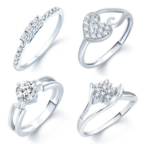 Sukkhi Rhodium Plated Set Of 4 Ring Combo For Women