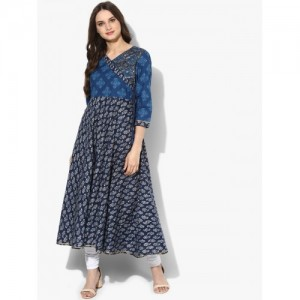 Sangria Women Blue Yoke Design Anarkali Kurta