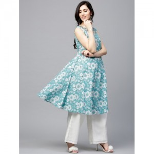 Aks Light Blue Floral Printed Anarkali Kurta