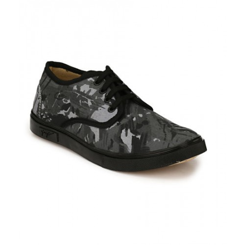 ZebX Men Black Printed Casual Shoes