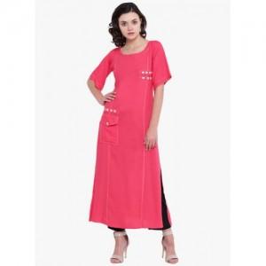 Aujjessa Pink Solid Pocket Style A-line Kurta