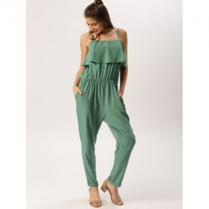 DressBerry Sea Green Solid Basic Jumpsuit