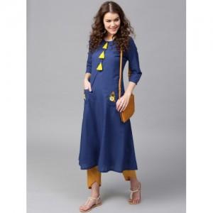 SASSAFRAS Blue Solid A-Line Pocket Style Kurta