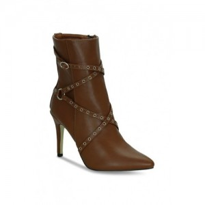 Get Glamr Women Brown Solid Embellished Heeled Boots