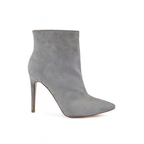 Truffle Collection Women Grey Pointy-Toed Heeled Boots