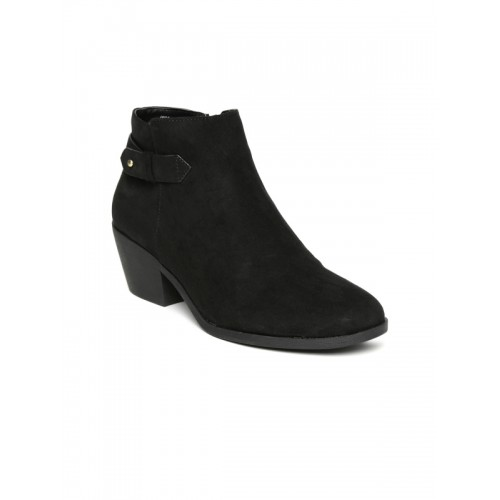 625ae82c553f Buy FOREVER 21 Women Black Solid Heeled Boots online ...