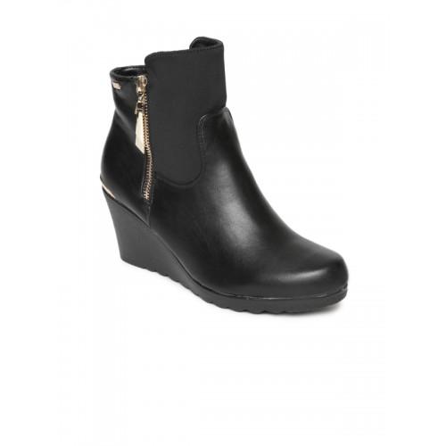 Carlton London Women Black Solid Heeled Boots