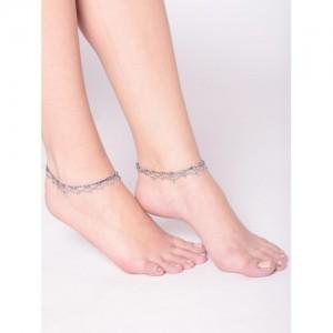 PRITA Oxidised Silver-Toned Anklets