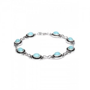 OOMPH Silver And Turquoise Blue Bohemian Bead Anklet