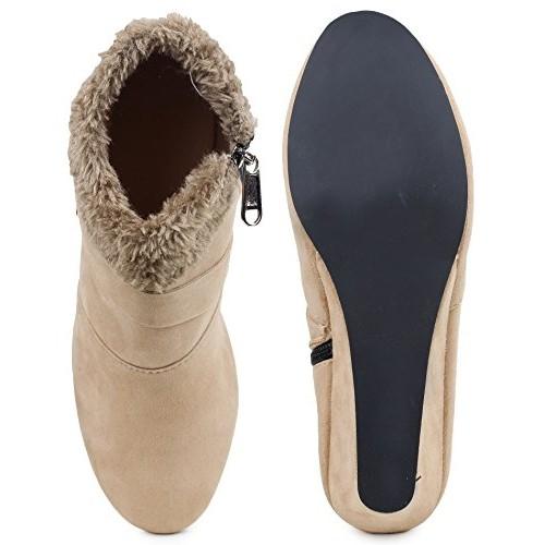 Bonzer Trendy Beige Women Boots