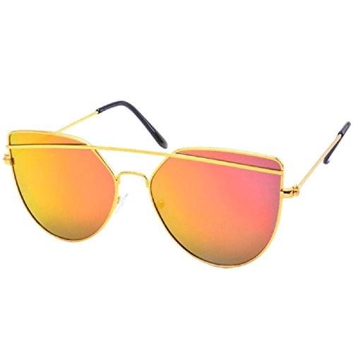 Silver Kartz Cateye Unisex Sunglasses(Wy146|65|Gold)