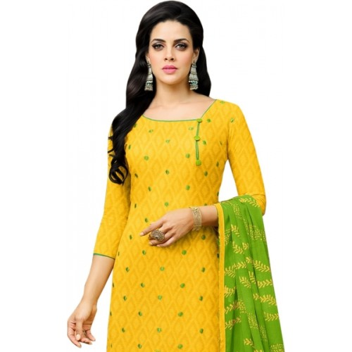 Ratnavati Yellow & Green Jacquard Embroidered Salwar Suit