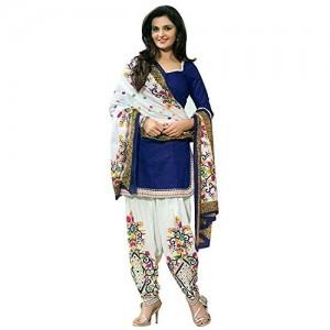 Rensila Blue & White Cotton Dress Material