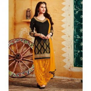 Urban India Black Poly Cotton Embroidered Unstitched Patiala Style Suit - URAIN16