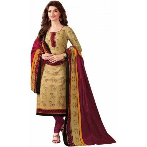Reya Beige & Maroon Crepe Printed Salwar Suit Dupatta Material