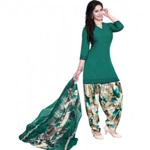 Giftsnfriends Green Crepe Printed Salwar Suit Dupatta Material