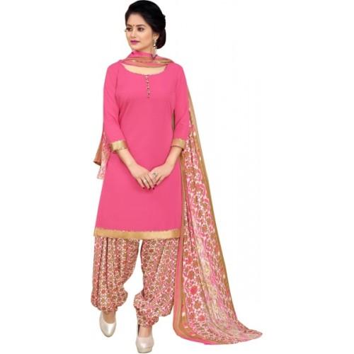 Saara Crepe Floral Print, Solid, Printed Salwar Suit Dupatta Material