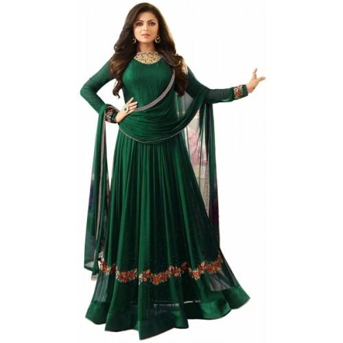 Sukhvilas Fashion Green Georgette Embroidered Salwar Suit