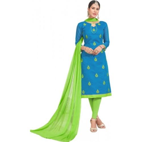 Saara Chanderi Solid, Paisley, Embroidered Salwar Suit Dupatta Material