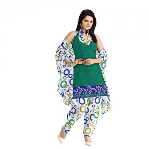 19a856ef2c BanoRani Womens White & Green Color PolyCotton UnStitched Dress Material