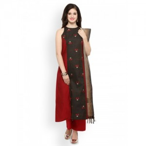 Inddus Black & Red Chanderi Cotton Printed Dress Material