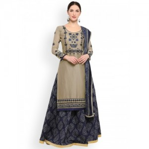 Satrani Beige & Navy Blue Cotton Blend Unstitched Dress Material
