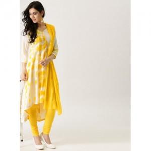 Imara Off White & Yellow Blended Washed Kurta Churidar Dupatta