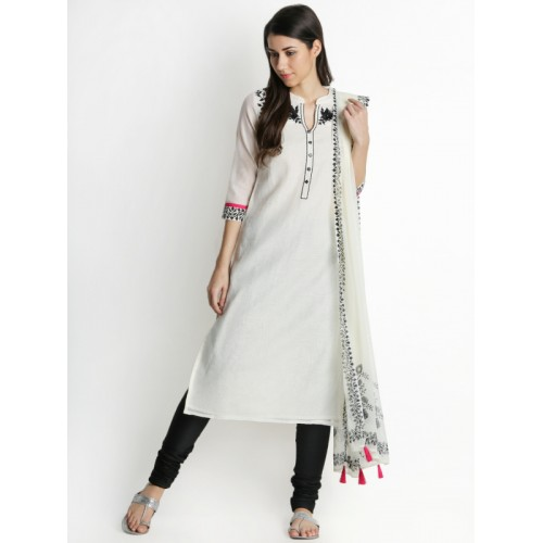d3943529b2b203 ... TRISHAA BY PANTALOONS Women White   Black Embroidered Kurta with  Churidar   Dupatta ...