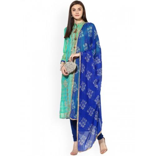 b9d792aa00 Buy Saree mall Sea Green   Blue Silk Unstitched Dress Material ...