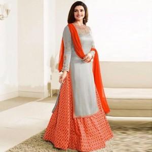 Fashion Basket  Gray & Orange Cotton Silk Salwar Suit