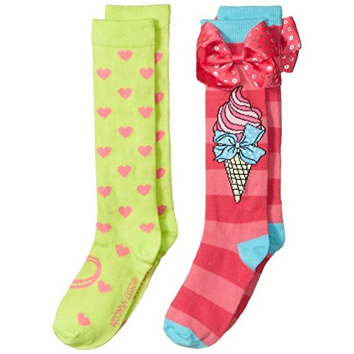 bd7e6ac7f Buy Nickelodeon Big Girls Parrot Green   Pink Jojo Siwa 2 Pack Thigh Length  Socks online