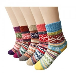 868eb273ee Aeoss Women's 3 Pairs Vintage Style Winter Knitting Warm Wool Crew Socks