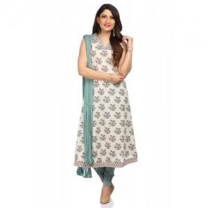 Off White A-Line Cotton Printed Salwar Suit Set