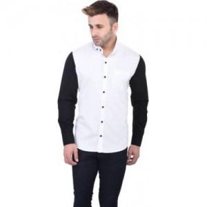 Pickurs Men's Solid Casual White, Black Shirt