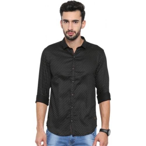 Showoff Men's Geometric Print Casual Black Shirt