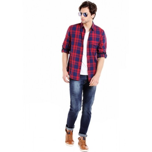 Dennis Lingo Red Cotton Checkered Casual Shirt