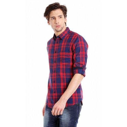 Dennis Lingo Red Cotton Checkered Casual Shirt