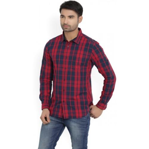 Highlander Men's Checkered Casual Red, Dark Blue Shirt