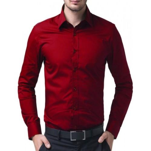 Jai Textiles Red Cotton Men's Solid Casual Shirt