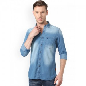 Solly Jeans Co. by Allen Solly Men Blue Slim Fit Solid Denim Casual Shirt