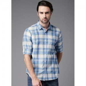 HERE&NOW Blue Checked Casual Shirt