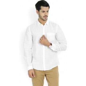 United Colors of Benetton White Cotton Solid Casual Shirt