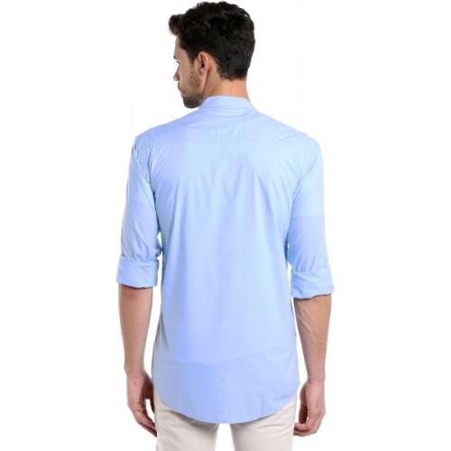 Dennis Lingo Sky Blue Mandarin collar Cotton Solid Casual Shirt