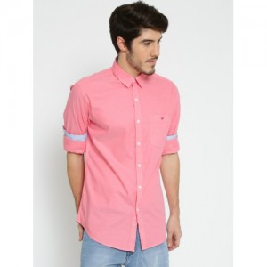 Wills Lifestyle Men Coral Pink Slim Fit Solid Casual Shirt