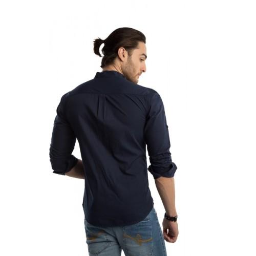 Rodid  Dark Blue Cotton Solid Casual Shirt