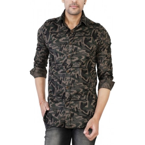 Jai Textiles Multicolor Military Camouflage Casual Shirt