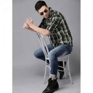 HERE&NOW Black Checked Casual Shirt
