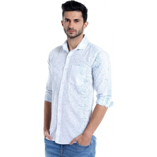 Campus Sutra Men's Printed Casual Blue, White Shirt