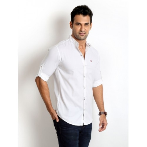 Rodid White Cotton Solid Casual Shirt